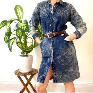 Vintage 80's acid washed shirt dress, size small